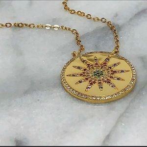 ZokyDoky Jewelry - Rainbow CZ Starburst Medallion, NWT